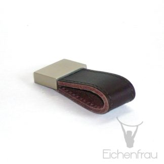 Eichenfrau Möbelgriff mit Lederschlaufe und Edelstahl-Applikation, 66x30 mm