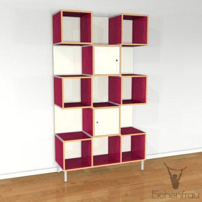 Eichenfrau Büroschrank form500-30 Multiplex Himbeere und Naturweiss