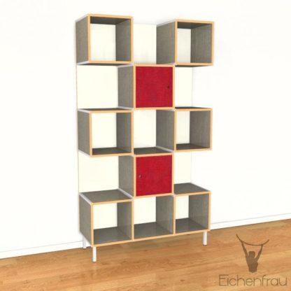 Eichenfrau Büroschrank form500-30 Multiplex Schlamm und Weinrot