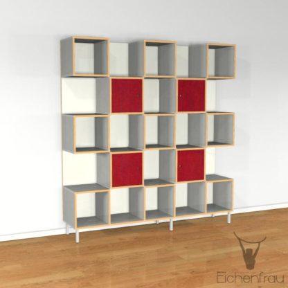 Eichenfrau Büroschrank form500-37 Multiplex Silbergrau und Weinrot