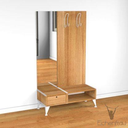 Eichenfrau Garderobe mit Spiegel form500-2 Massivholz Eiche