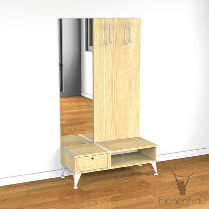 Eichenfrau Garderobe mit Spiegel form500-2 Massivholz Esche