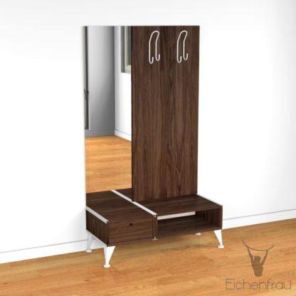 Eichenfrau Garderobe mit Spiegel form500-2 Massivholz Nussbaum