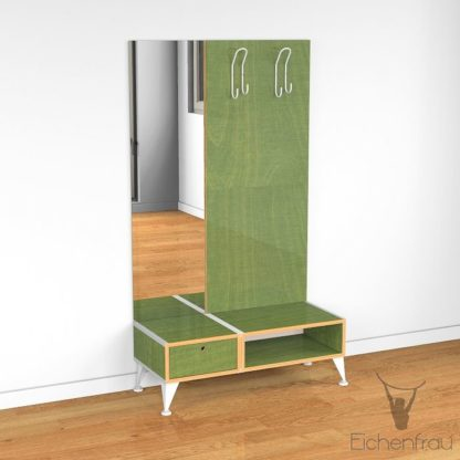 Eichenfrau Garderobe mit Spiegel form500-2 Multiplex Limette