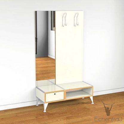Eichenfrau Garderobe mit Spiegel form500-2 Multiplex Naturweiss