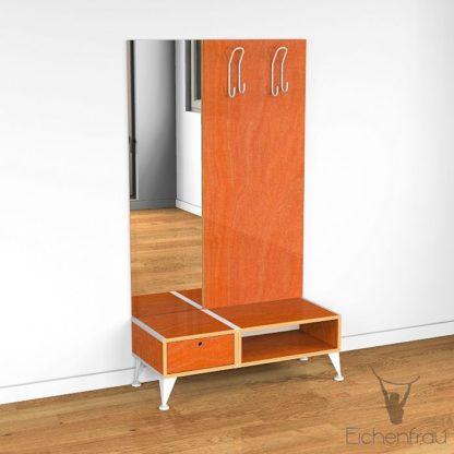 Eichenfrau Garderobe mit Spiegel form500-2 Multiplex Retroorange