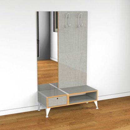 Eichenfrau Garderobe mit Spiegel form500-2 Multiplex Silbergrau
