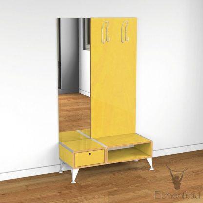 Eichenfrau Garderobe mit Spiegel form500-2 Multiplex Sonnengelb