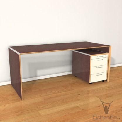 Eichenfrau Schreibtisch form110 Multiplex Chocco mit Container form108