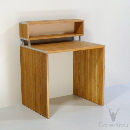 Eichenfrau Schreibtisch form111 mit Aufsatz Eiche massiv