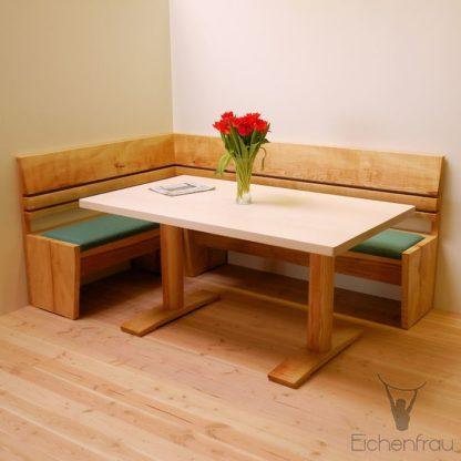 Eichenfrau Sitzbank form302 und Esstisch form204 Esche massiv