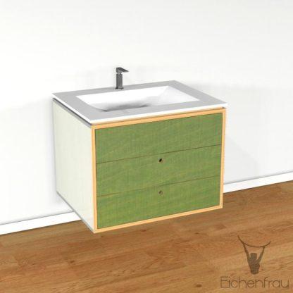 Eichenfrau Waschtisch form403 Multiplex Naturweiss und Limette
