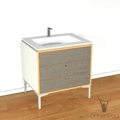 Eichenfrau Waschtisch form403 Multiplex Naturweiss und Schlamm
