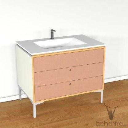 Eichenfrau Waschtisch form404 Multiplex Naturweiss und Cappuccino