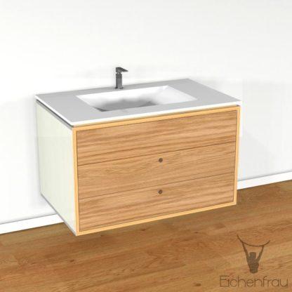 Eichenfrau Waschtisch form404 Multiplex Naturweiss und Massivholz Eiche
