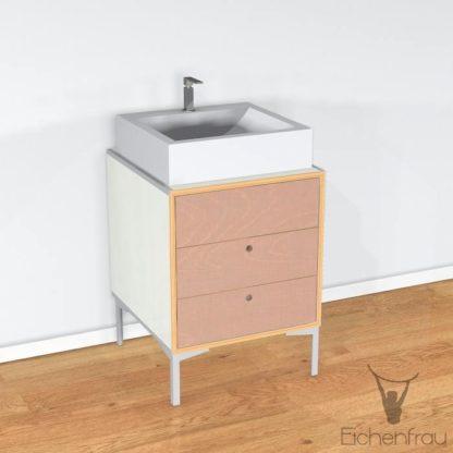 Eichenfrau Waschtisch form405 Multiplex Naturweiss und Cappuccino