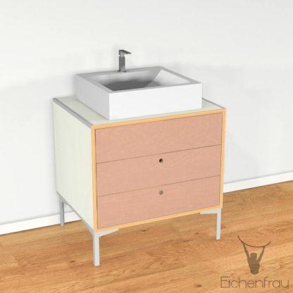 Eichenfrau Waschtisch form406 Multiplex Naturweiss und Cappuccino
