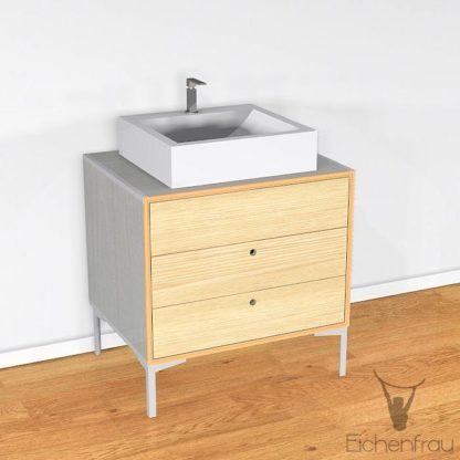 Eichenfrau Waschtisch form406 Multiplex Silbergrau und Massivholz Esche